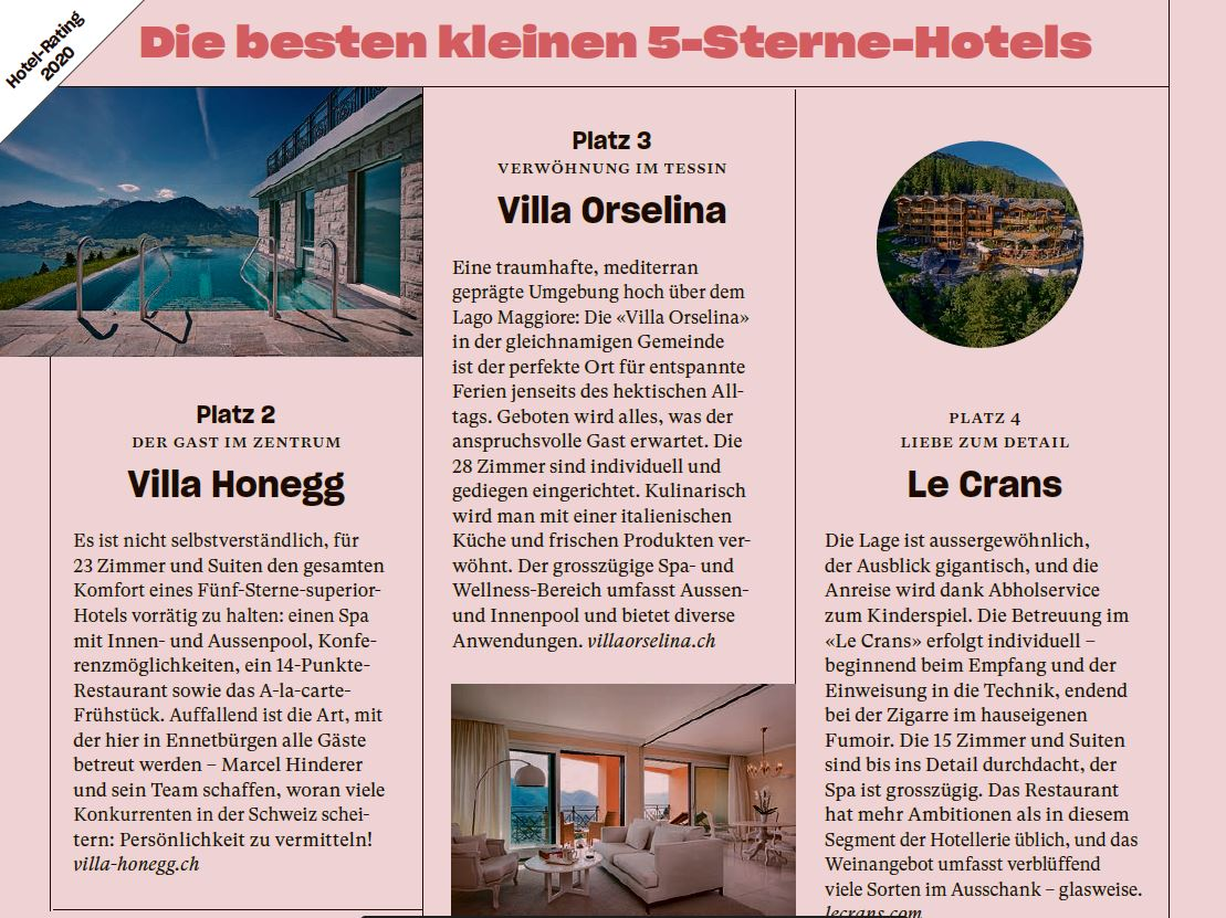 The best small 5stars Hotels  - NZZ am Sonntag